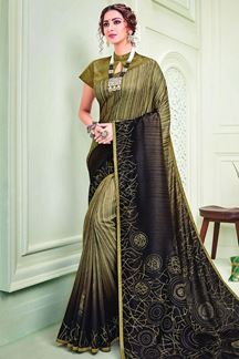 Picture of Auspicious Brown & Mustard Colored Designer Silk Saree
