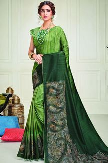 Picture of Designer Green Color Shaded Silk Saree