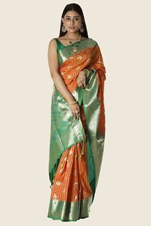 Picture of Trendy Orange & Green Colored Banarasi Silk Saree