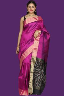 Picture of Glorious Magenta & Black Colored Bangalore Silk Saree