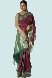 Picture of Trendy Magenta & Green Colored Jamdani Silk Saree