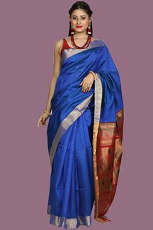 Picture of Radiant Royal Blue Colored Bangalore Silk Saree