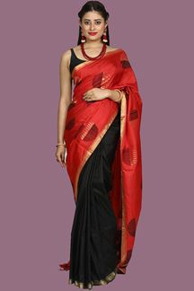 Picture of Intricate Red & Black Colored Bangalore Silk Saree