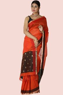 Picture of Glowing Orange-Brown Colored Gadwal Silk Saree