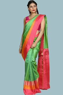 Picture of Beautiful Green & Pink Colored Bangalore Silk Saree