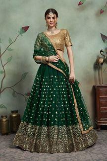 Picture of Excellent Dark Green Colored Designer Lehenga Choli