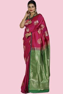 Picture of Magenta & Green Colored Banarasi Art Silk Saree
