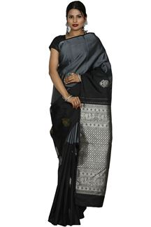 Picture of Grey & Black Color Kanjivaram Silk Saree