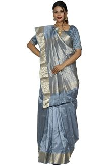 Picture of Intricate Grey Color Kanjivaram Silk Saree