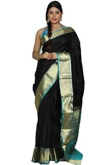 Picture of Radiant Black & Rama Green Colored Kanjivaram Silk Saree