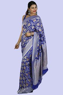 Picture of Pleasant Royal Blue Colored Mysore Georgette Saree