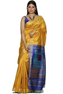 Picture of Yellow & Royal Blue Colored Bangalore silk saree