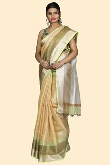 Picture of Mesmeric Golden & Green Colored Linen Saree