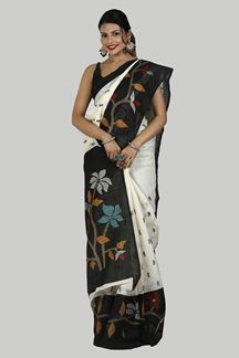 Picture of Fantastic Cream & Black Colored Festive Wear Art Jute Silk Saree