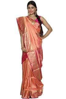 Picture of Energetic Peach & Pink Colored Brocade Silk Saree