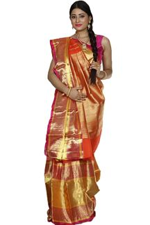 Picture of Glowing Orange & Pink Colored Kanjivaram Kora Silk Saree