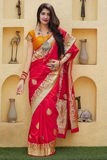 Picture of Red Colored Designer Classic Wear Silk Saree