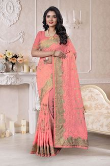Picture of Regal Baby Pink Colored Designer Saree
