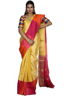 Picture of Lemon Yellow & Rani Colored Designer Dharmavaram Silk