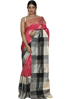 Picture of Onion Pink & Cream Colored Designer Dharmavaram Silk
