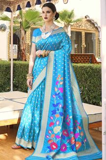 Picture of Sky Blue Designer Party Wear Handloom Weaving Silk Saree