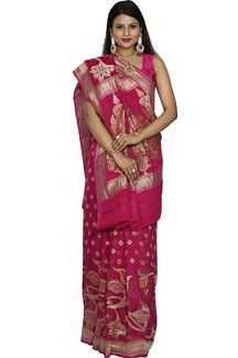 Picture of Radiant Magenta Colored Banarasi Georgette Silk Saree