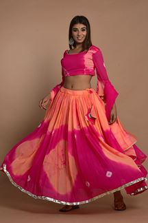 Picture of Pink Colored Hand Tie And Dye Lehenga Choli