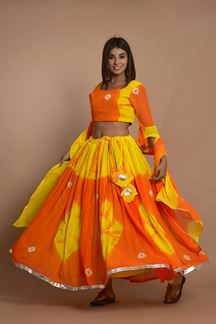 Picture of Orange Colored Hand Tie And Dye Lehenga Choli