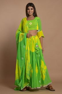 Picture of Green Colored Hand Tie And Dye Lehenga Choli