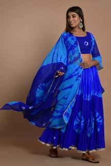 Picture of Blue Colored Hand Tie And Dye Lehenga Choli