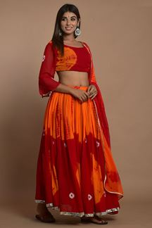 Picture of Red Colored Hand Tie And Dye Lehenga Choli