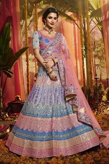 Picture of Appealing Grey Colored Partywear Organza Lehenga Choli