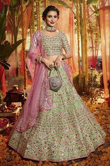 Picture of Jazzy Green Colored Wedding Wear Organza Lehenga Choli
