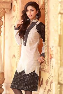 Picture of Cotton silk traditional wear off white kurti