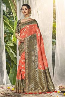 Picture of Subtle Peach Colored Designer Saree