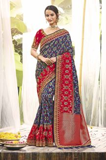 Picture of Blue & Red Colored Designer Wear Saree