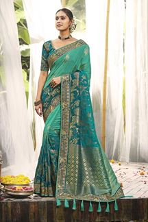 Picture of Designer Wear Green Colored Saree