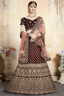 Picture of Velvet Maroon Colored Designer Lehenga Choli