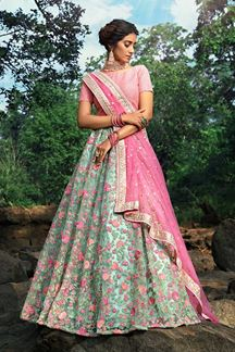Picture of Designer pista- green Color Lehenga Choli