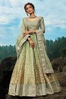 Picture of Marvelous Looking Green Colored Lehenga Choli