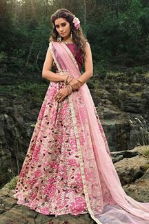 Picture of Dark Peach Festive Wear Lehenga Choli