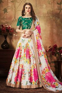 Picture of Green And White Color Designer Lehenga Choli
