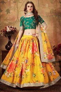 Picture of Designer Wear Yellow and Green Lehenga Choli