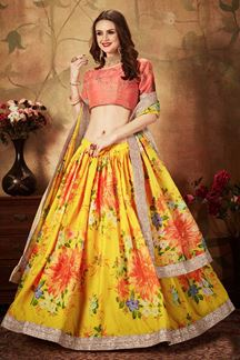 Picture of Classy Peach And Yellow Color Lehenga Choli