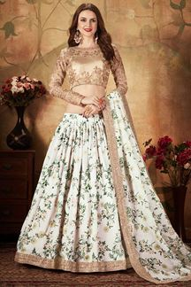 Picture of Beige and White Color Organza Lehenga Choli