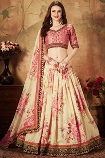Picture of Appealing Pink and Cream Colored Lehenga Choli