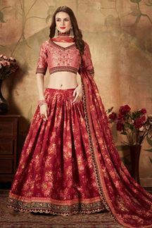 Picture of Bold Red Colored Lehenga Choli