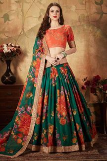 Picture of Vibrant Orange and Green Colored Lehenga Choli