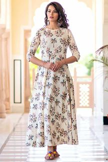 Picture of Refreshing Cream Colored Muslin Kurti