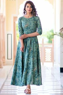 Picture of Light Aqua Colored Partywear Printed Muslin Kurti